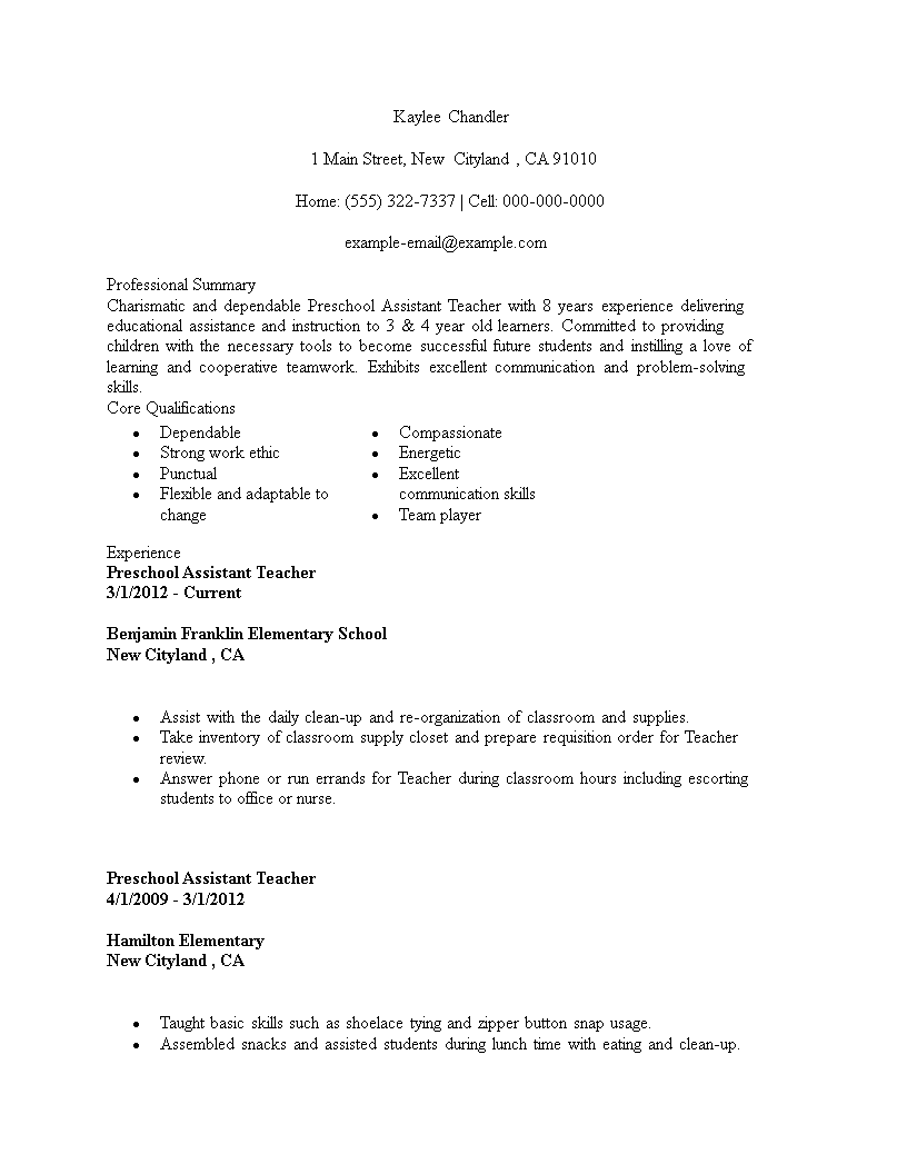 Free Sample Resume For Preschool Teacher Assistant   Templates at ...