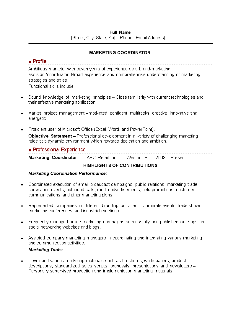 Marketing Event Coordinator Resume Main Image Download Template