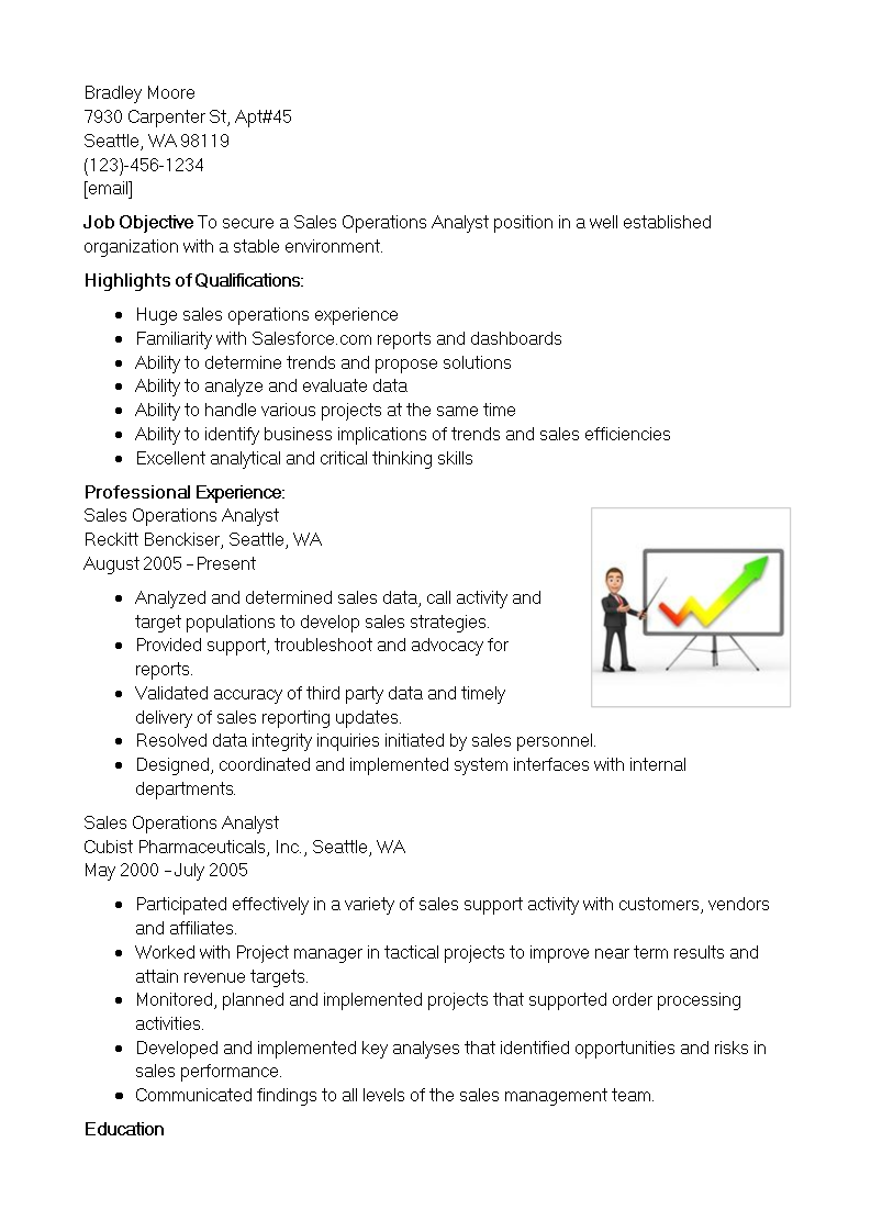 Sales Operations Analyst Resume Main Image Download Template