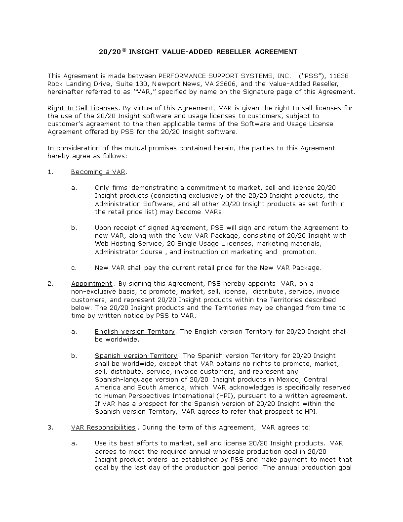 Free Value Added Reseller Agreement Templates At