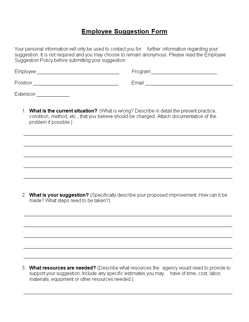 Employee Suggestion Form Word Format Main Image Template