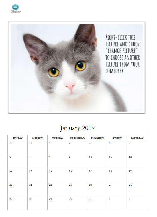 Free Photo Calendar Template 2019 main image