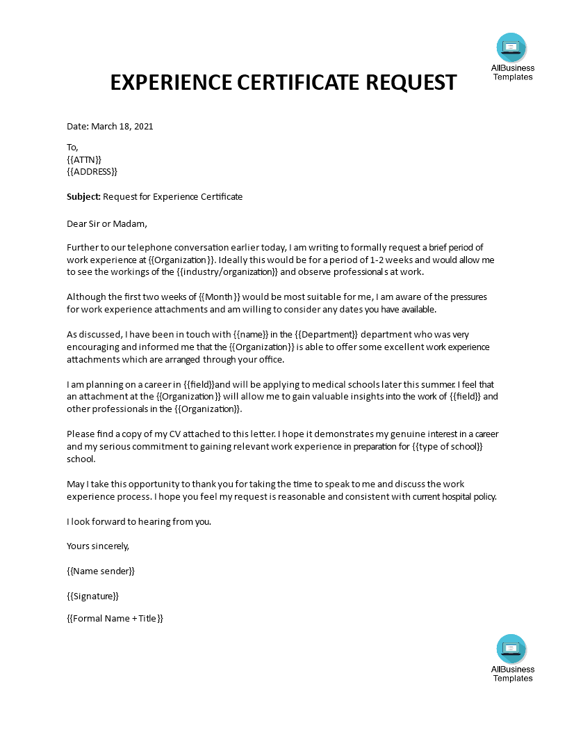 Sample Work Experience Letter