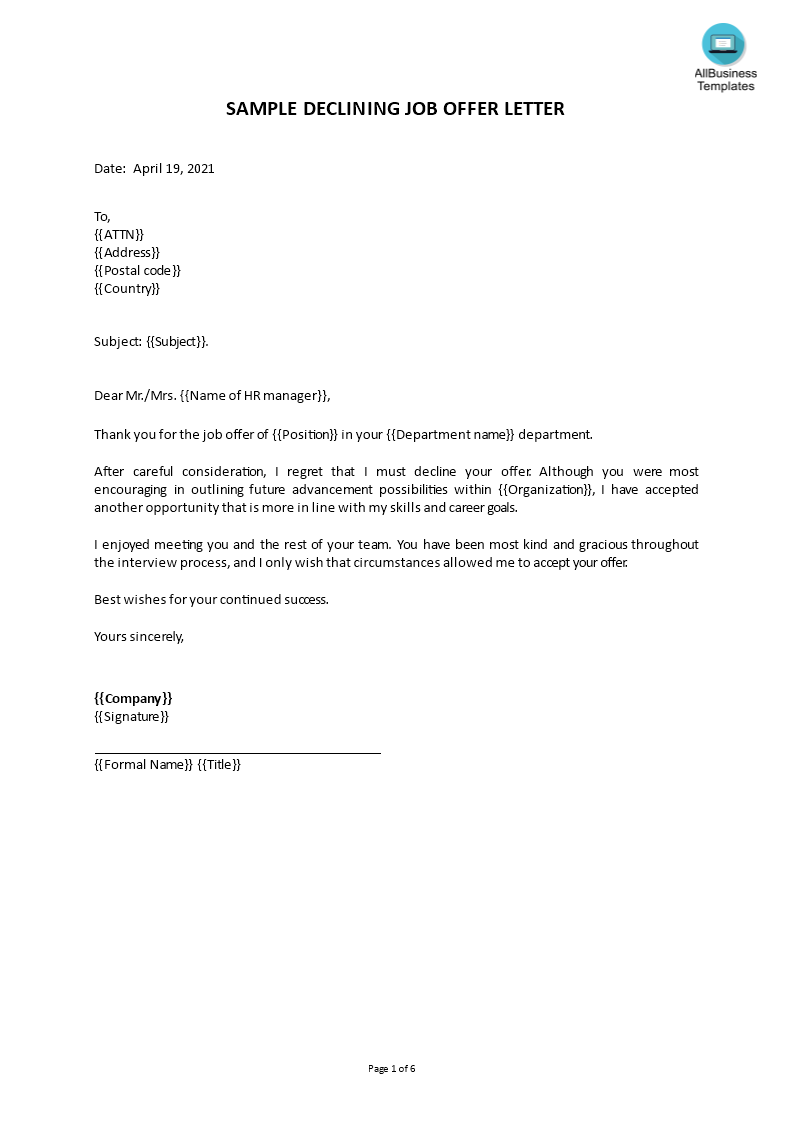 job offer decline letter main image