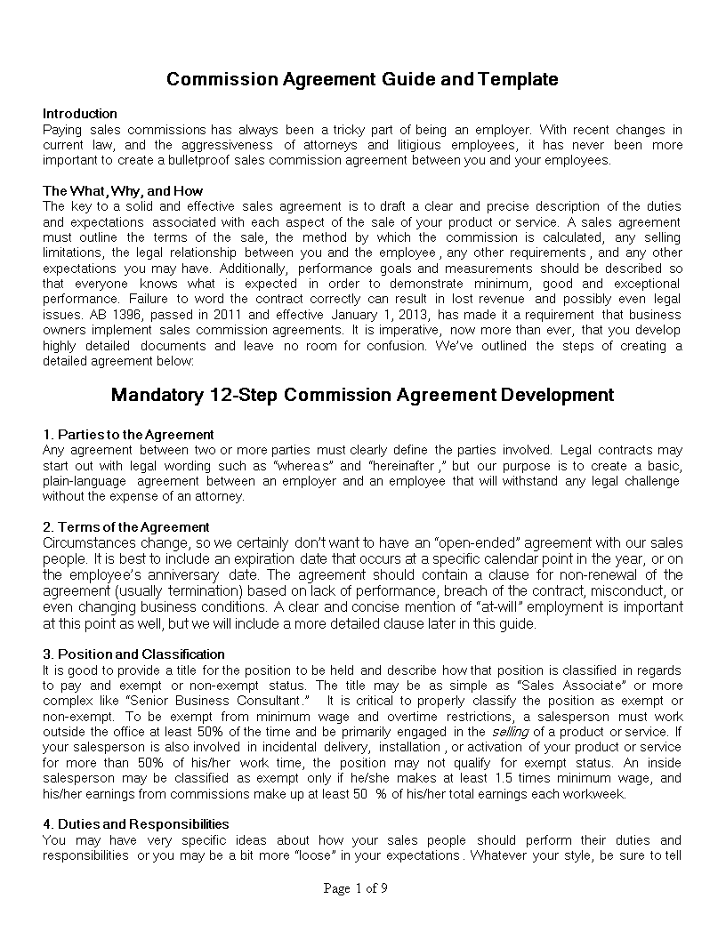 sales commision agreement template - free sales commission agreement templates at