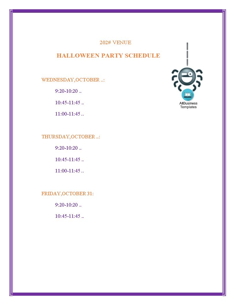 halloween party schedule main image