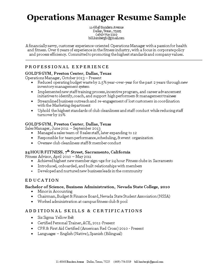 Free Operations Manager Resume template | Templates at ...