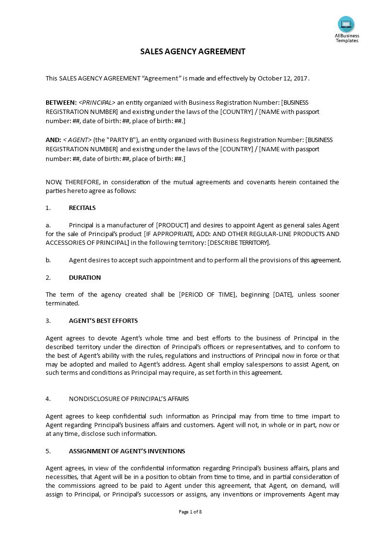 高级Sales Agency Agreement | 样本文件在allbusinesstemplates.com