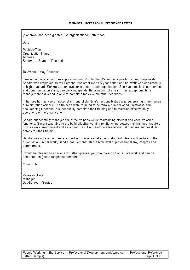 Professional Reference Letter Template from www.allbusinesstemplates.com