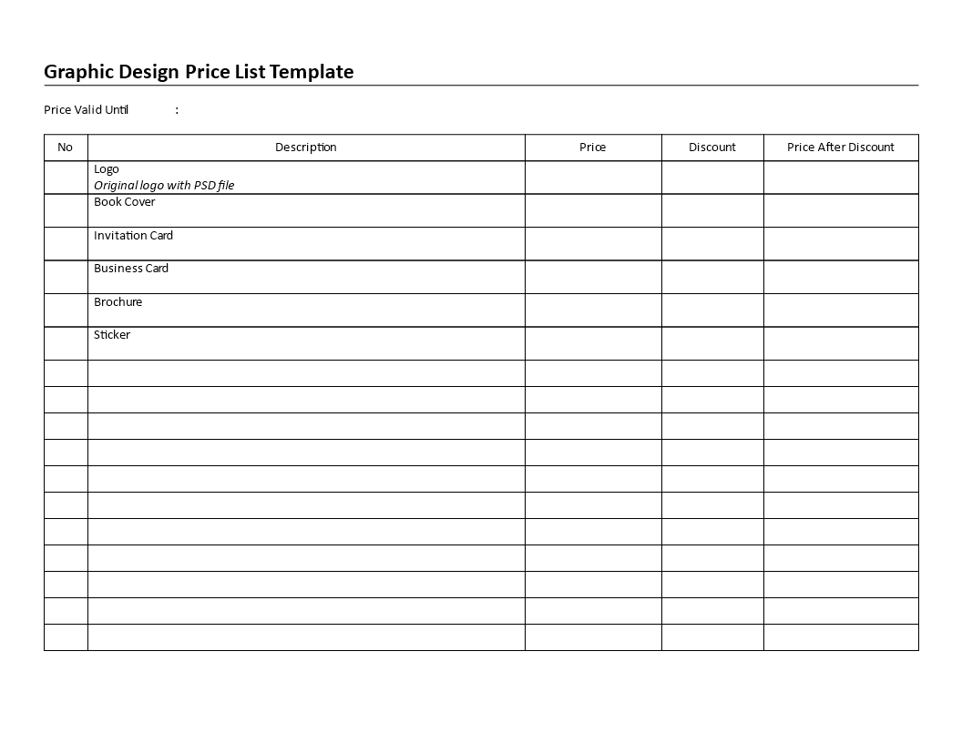 Free Printable Graphic Design Price List | Templates at ...