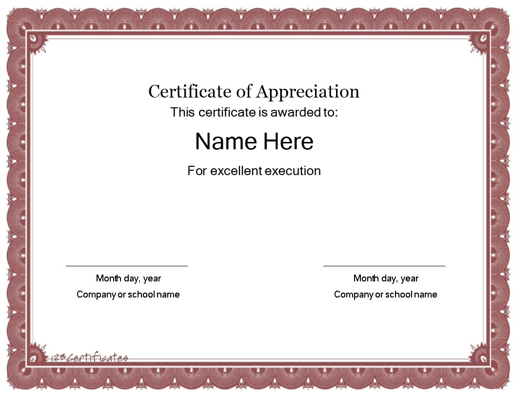 Free Certificate Template Of Appreciation Templates At