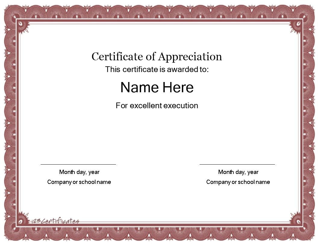 Gratis Certificate template of Appreciation