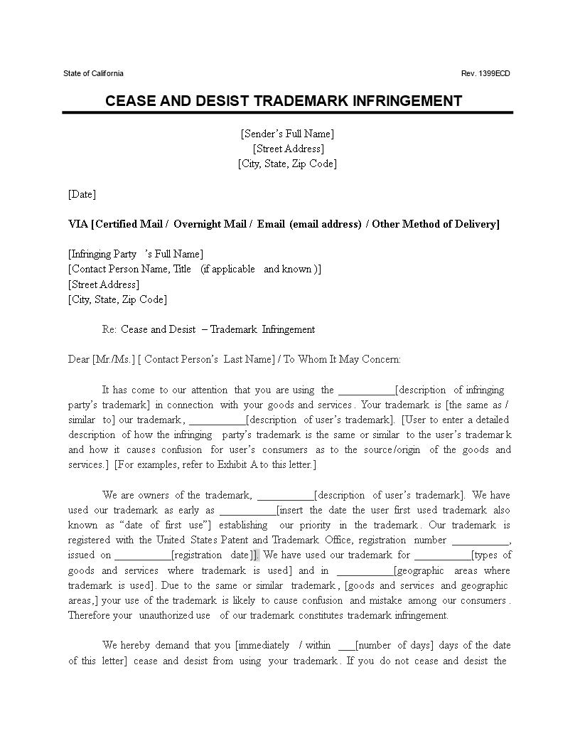 Standard Cease And Desist Letter from www.allbusinesstemplates.com