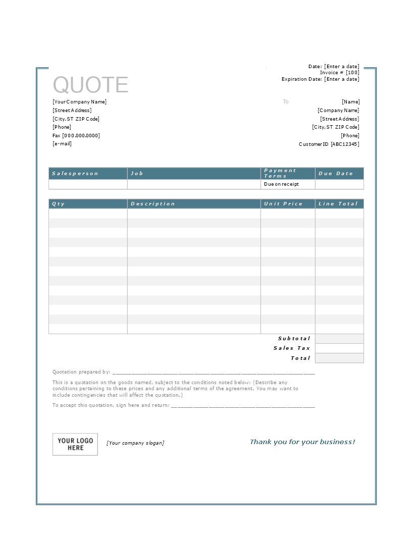 Free Price Quote Template in Word | Templates at ...