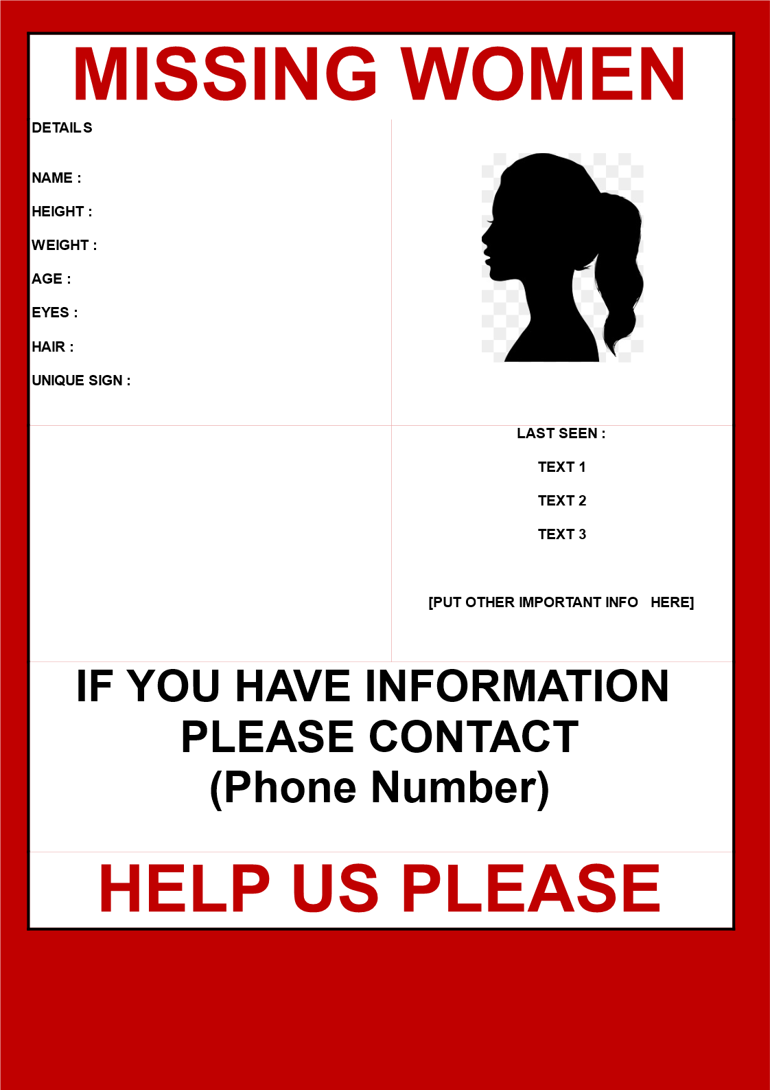 Free Missing Woman Poster template | Templates at ...