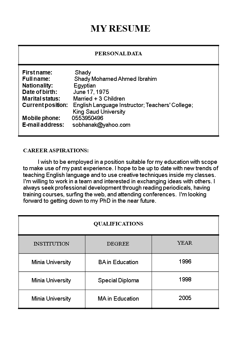 Free Primary Teacher Resume Format Templates At