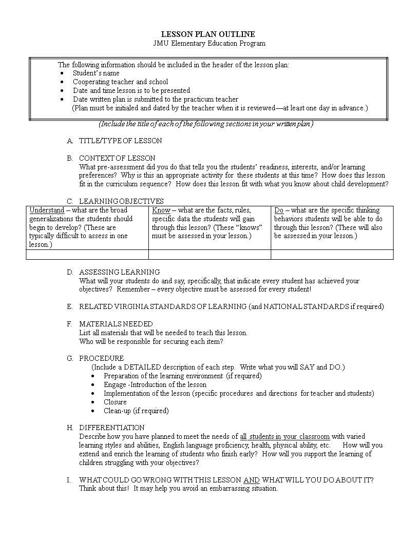 Free Elementary Lesson Plan Outline Templates At - Lesson plan blank template