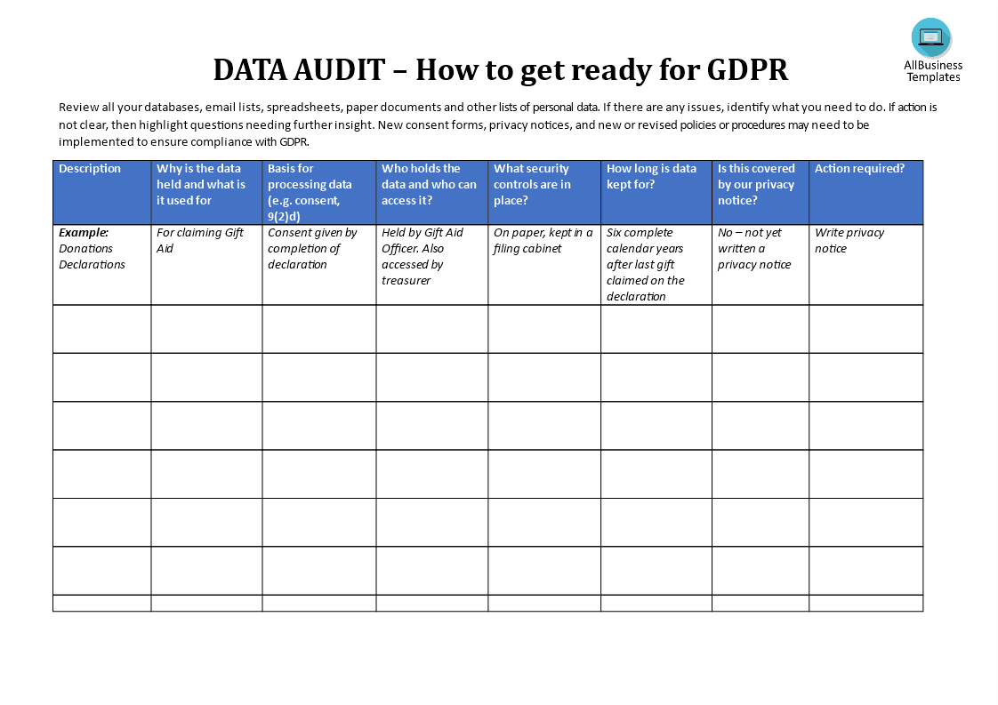 Gdpr data audit template templates at allbusinesstemplates gdpr data audit template fbccfo Images