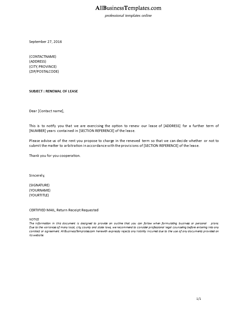 Formal Letter Lease Extension Main Image