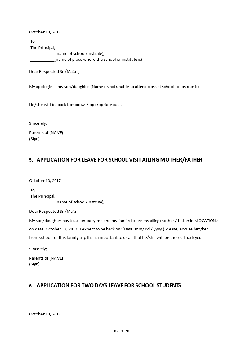 chicken pox leave application