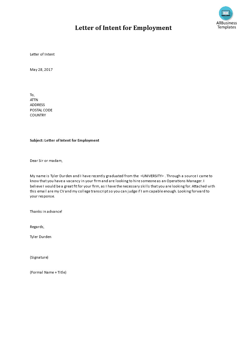 letter of intent for employment main image download template - Letter Of Intent For Employment Template