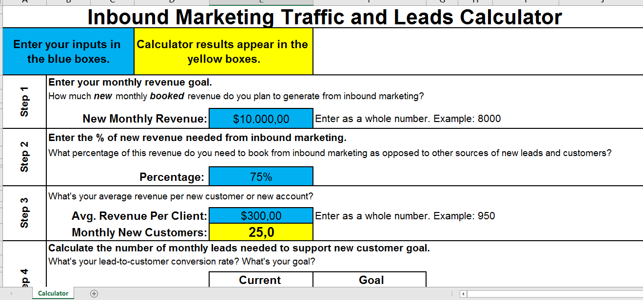 Elegant Inbound Marketing Traffic To Leads Calculator Main Image Download Template