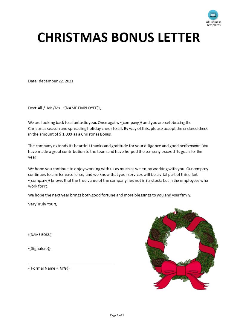 free christmas bonus letter