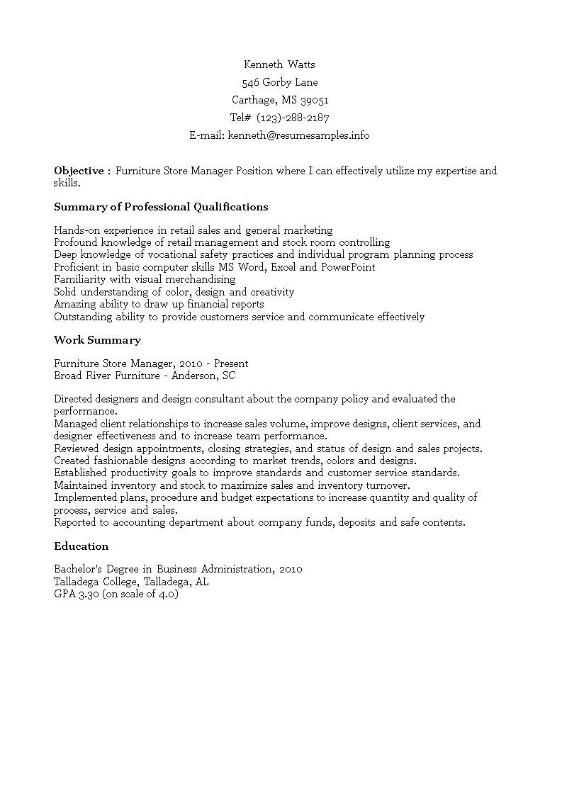 Furniture Store Manager Resume main image