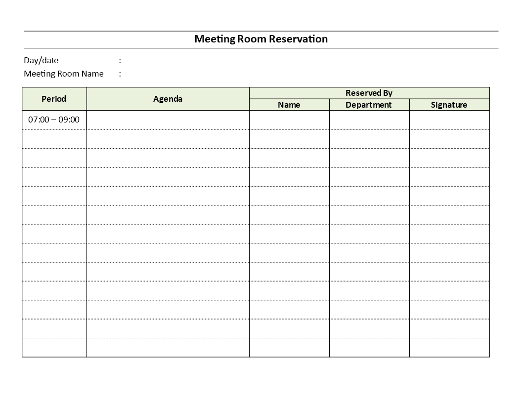 Meeting Room Reservation Sheet Templates At