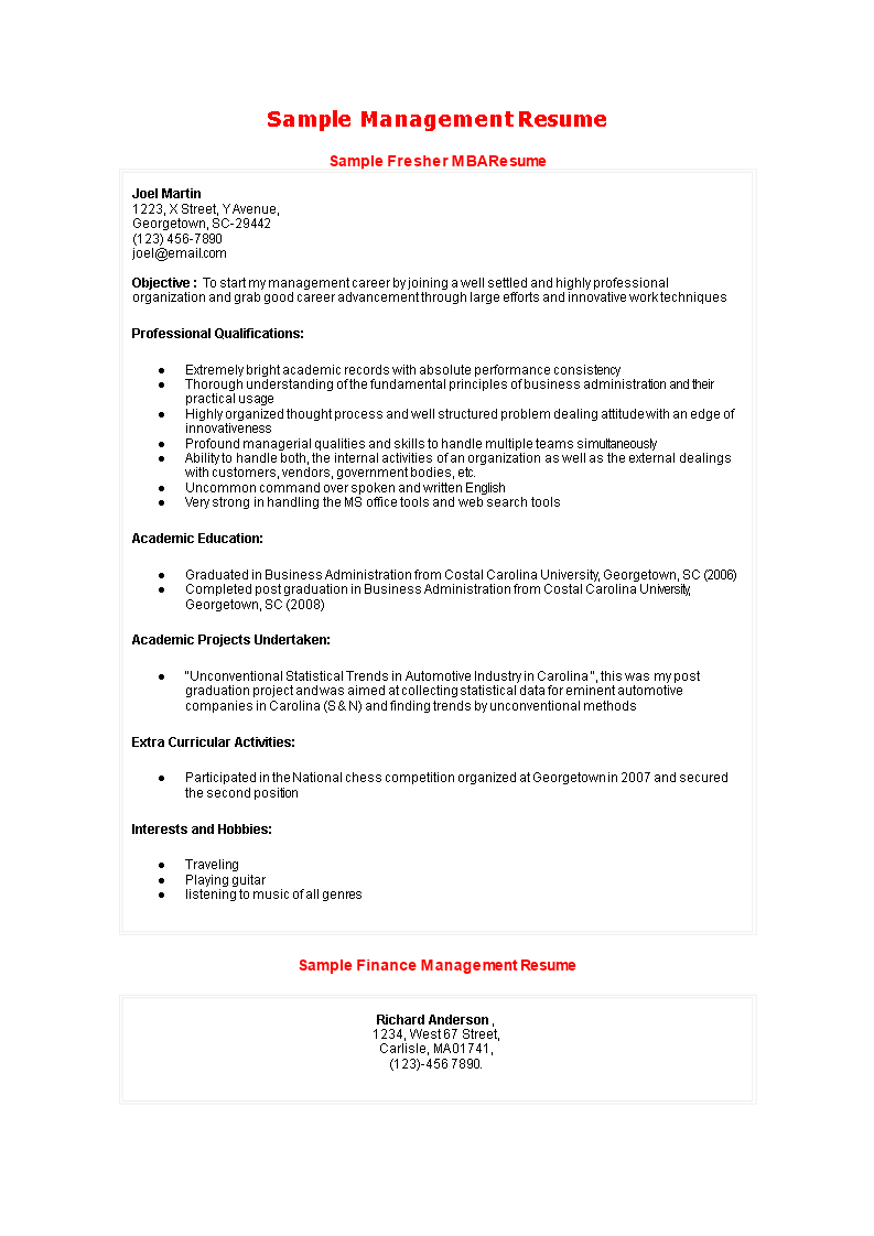 Free Mba Finance Fresher Professional Resume Templates At