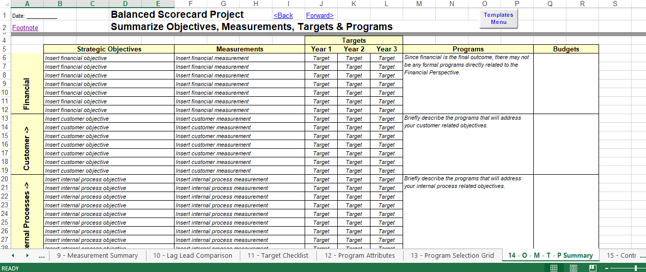 balanced scorecard excel template templates at