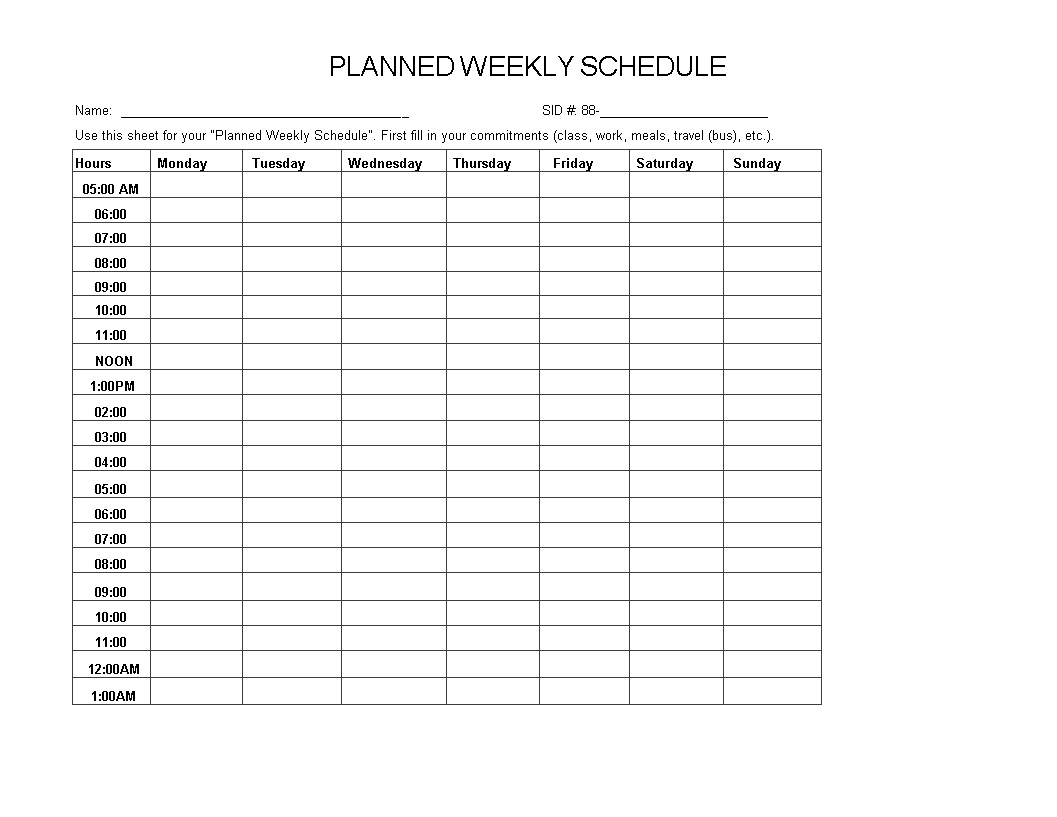 Weekly Planned Schedule Excel main image