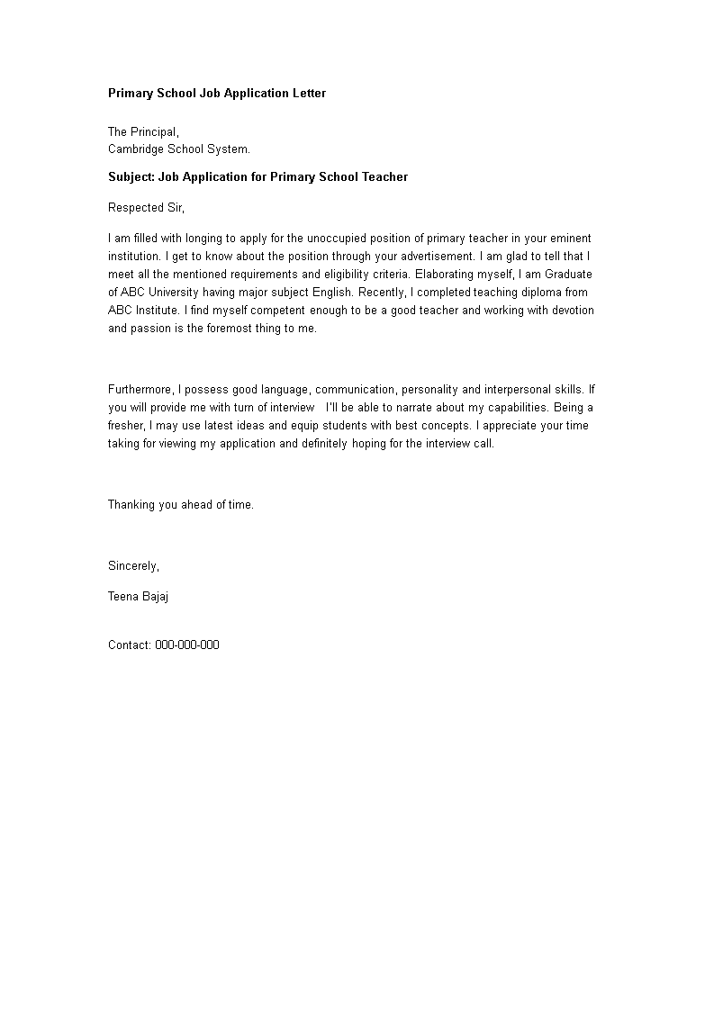 Primary School Job Application Letter Templates At
