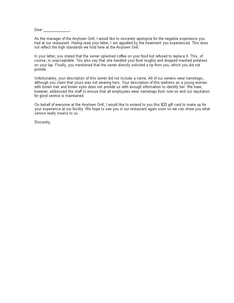 Free negative experience restaurant visit complaint response letter negative experience restaurant visit complaint response letter main image download template spiritdancerdesigns Choice Image