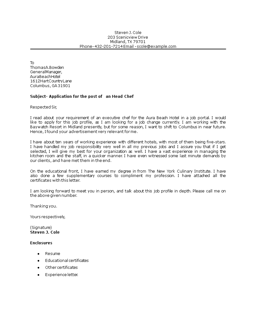 Head Chef Position Cover Letter | Templates at ...