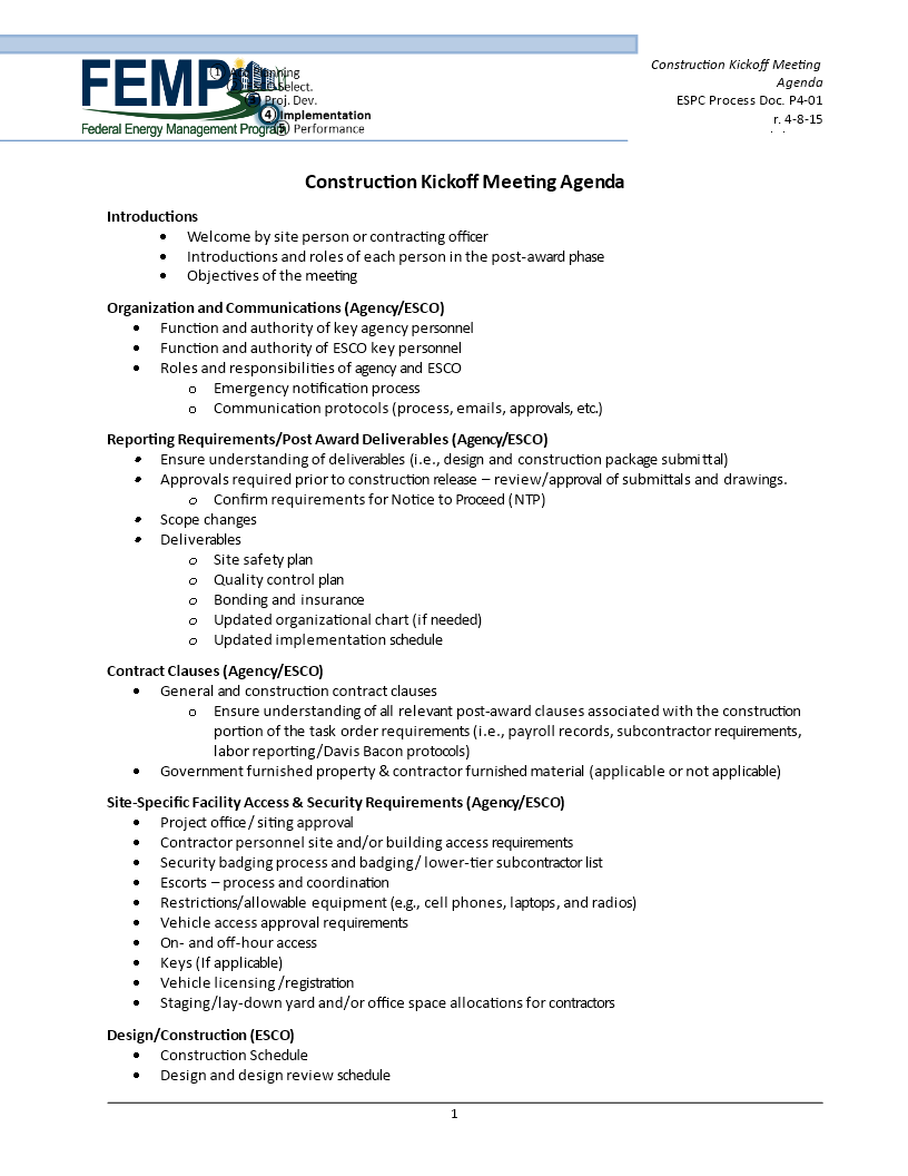 construction kick off meeting agenda