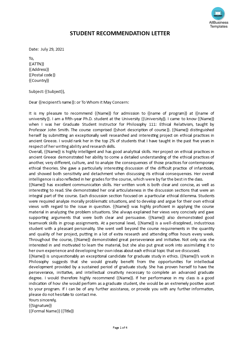 student recommendation letter main image download template