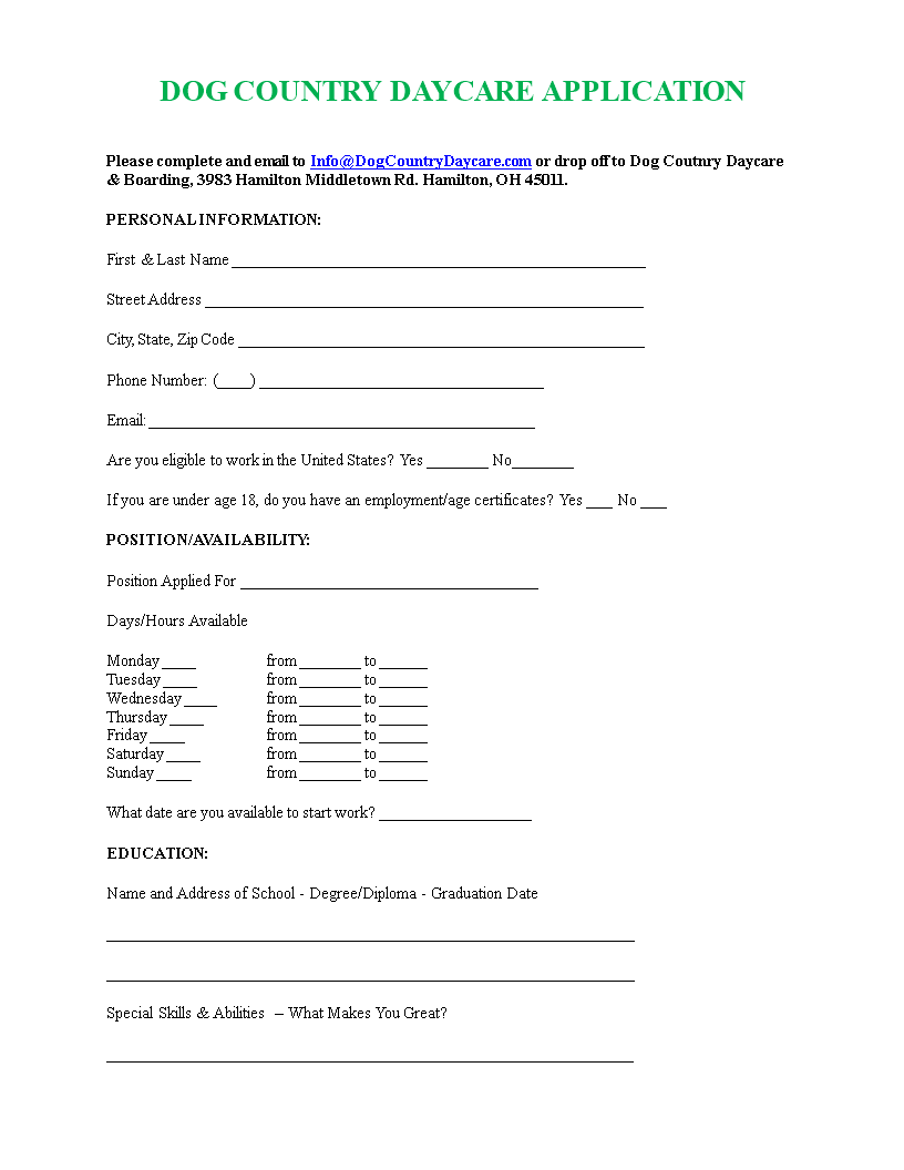 free printable daycare job application templates at