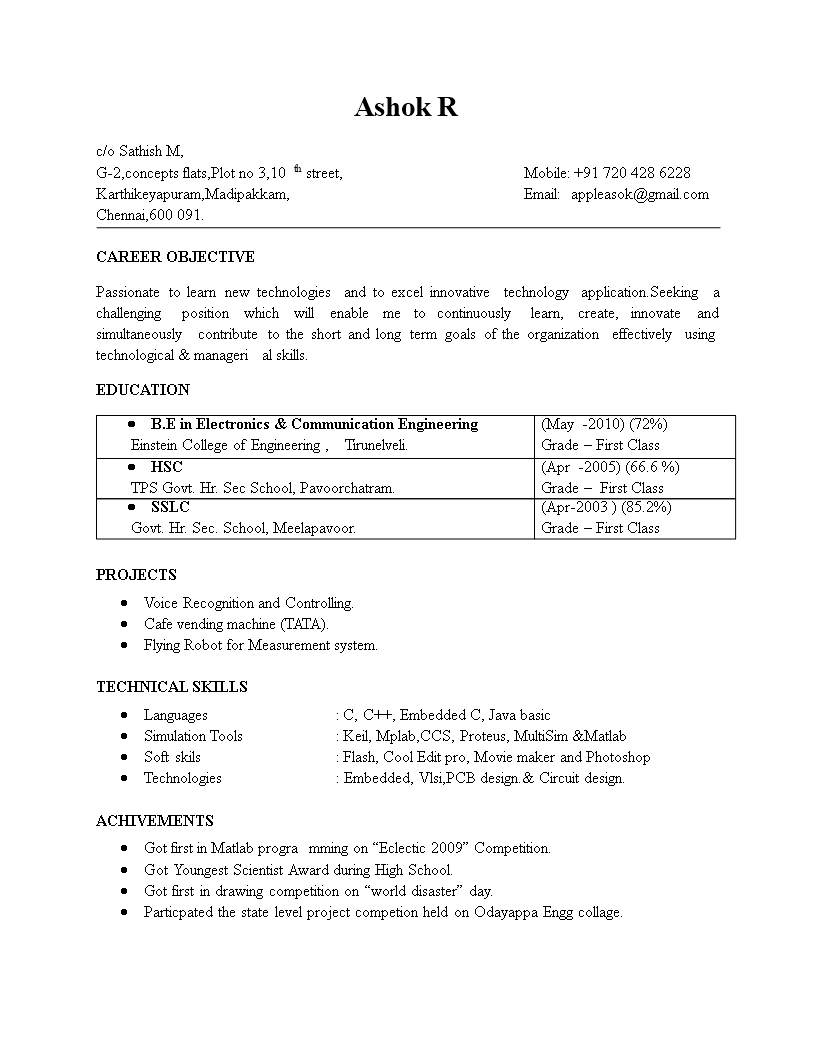 Electronics Engineering Fresher Resume Format Templates At