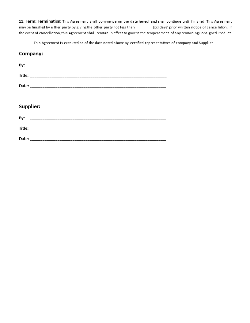 free consignment agreement – Free Consignment Contract Template