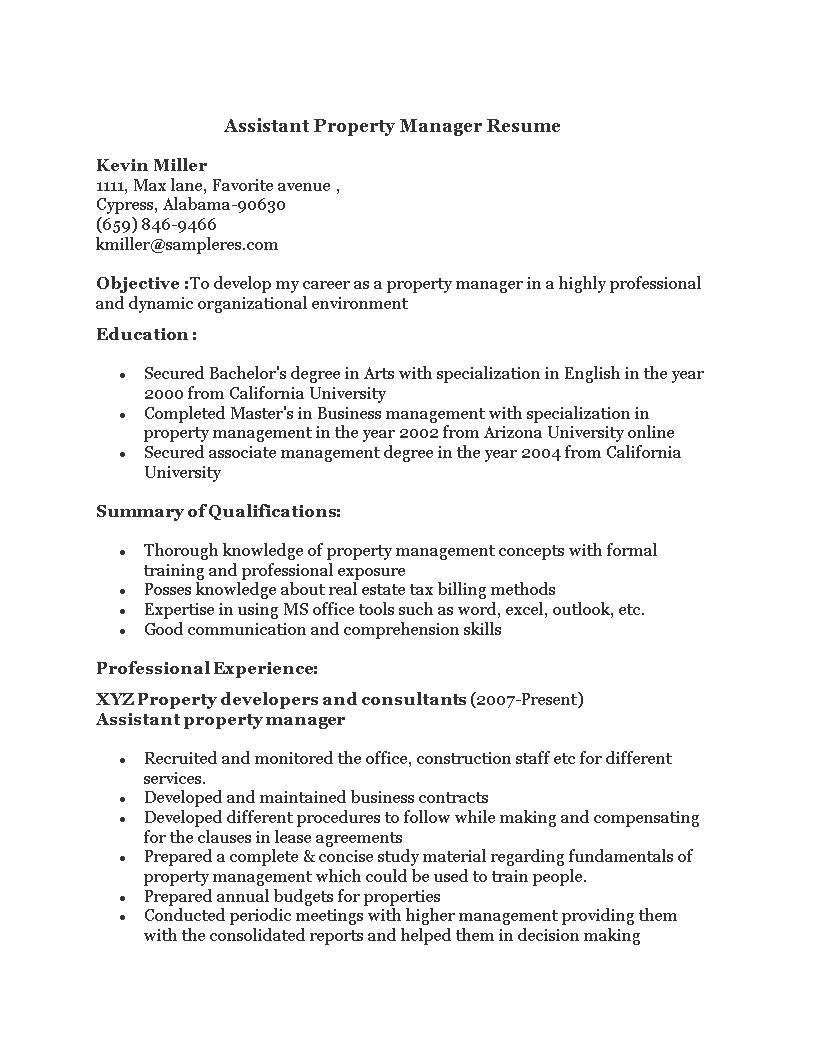 免费assistant To A Property Manager Resume 样本文件在