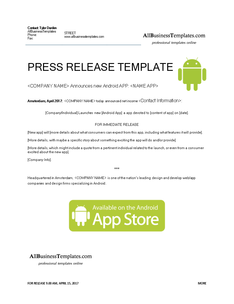 Free press release android app templates at for App press release template