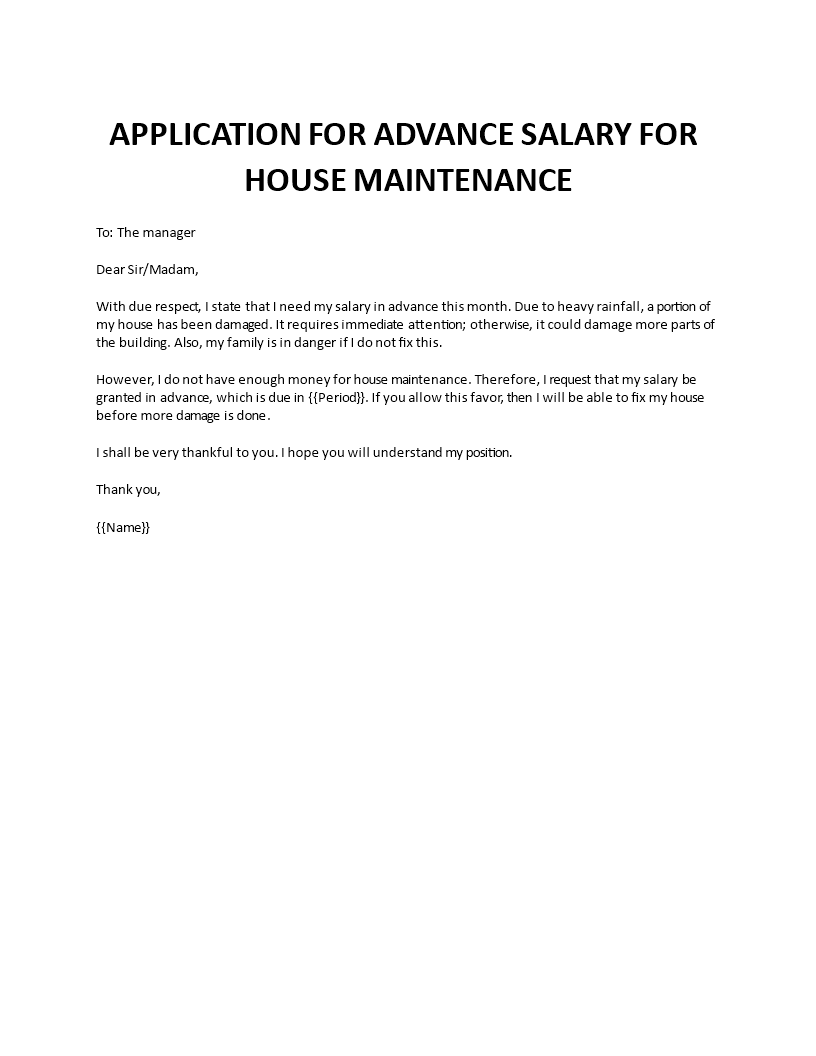 Application Advance Salary for House Maintenance main image