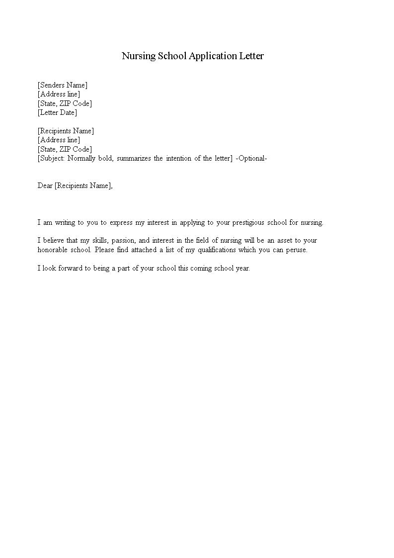 免费nursing School Application Letter