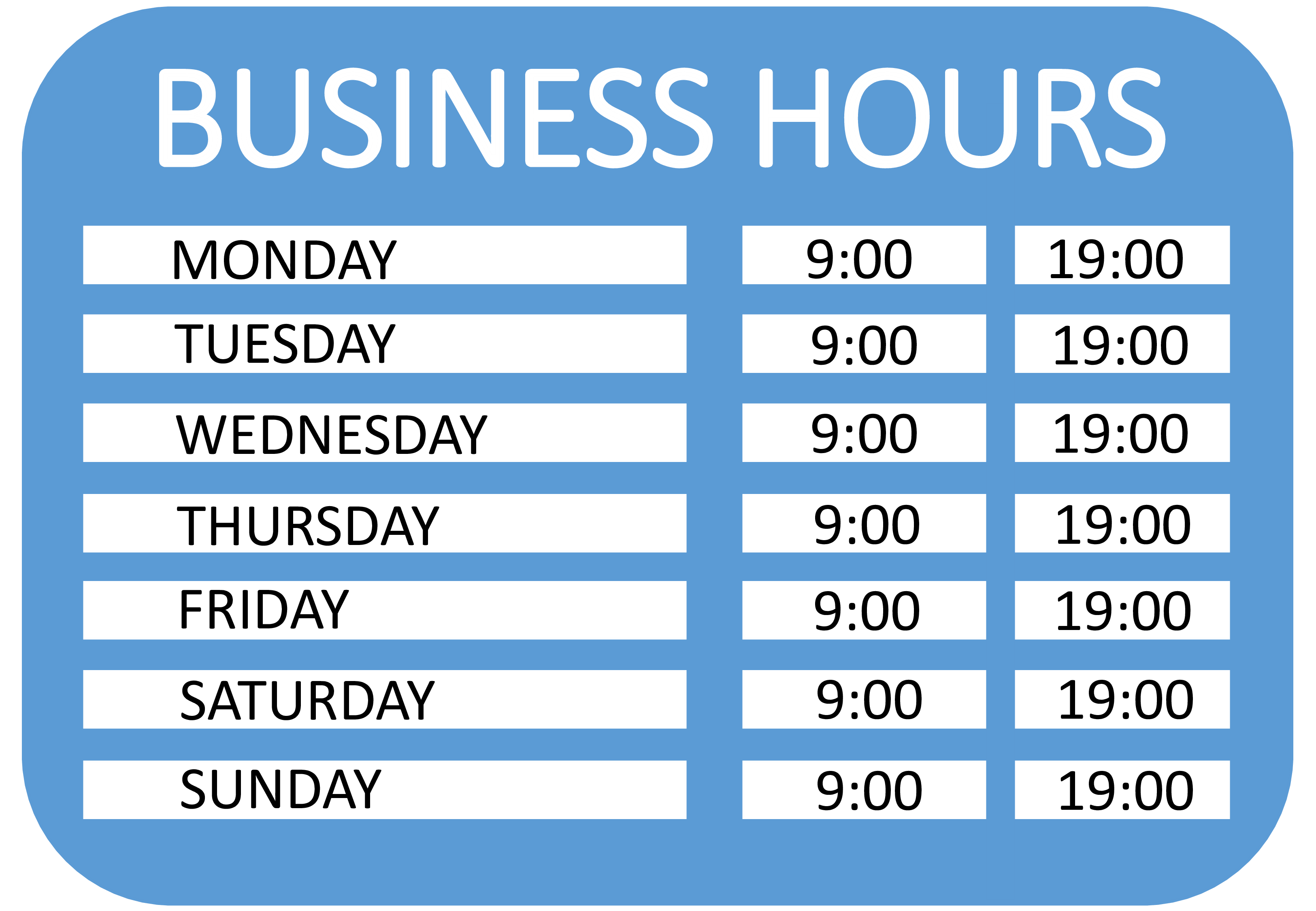 Operating Hours Sign Main Image Template