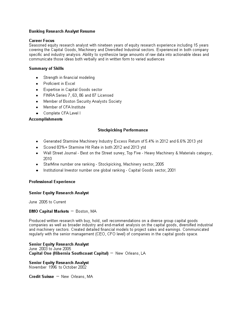 Free Banking Research Analyst Curriculum Vitae Templates At