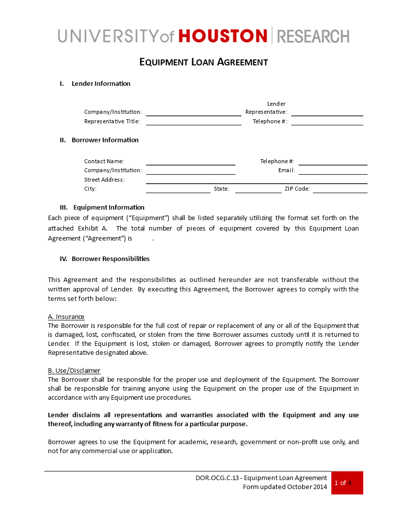 Free Loan Equipment Agreement Templates At Allbusinesstemplates Com