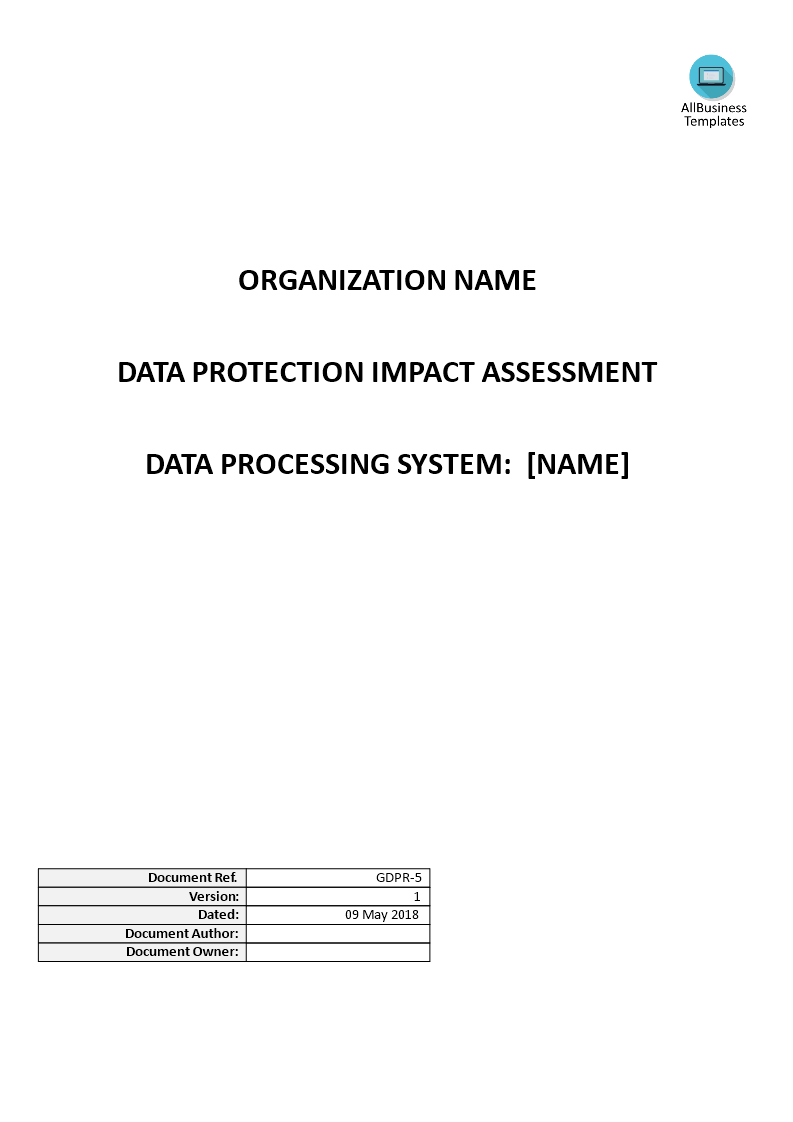 GDPR Data Protection Impact Assessment (DPIA) main image