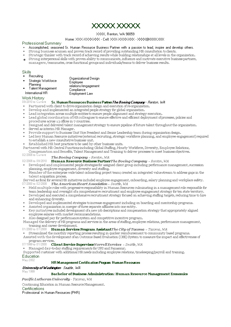 HR Business Partner Resume Main Image