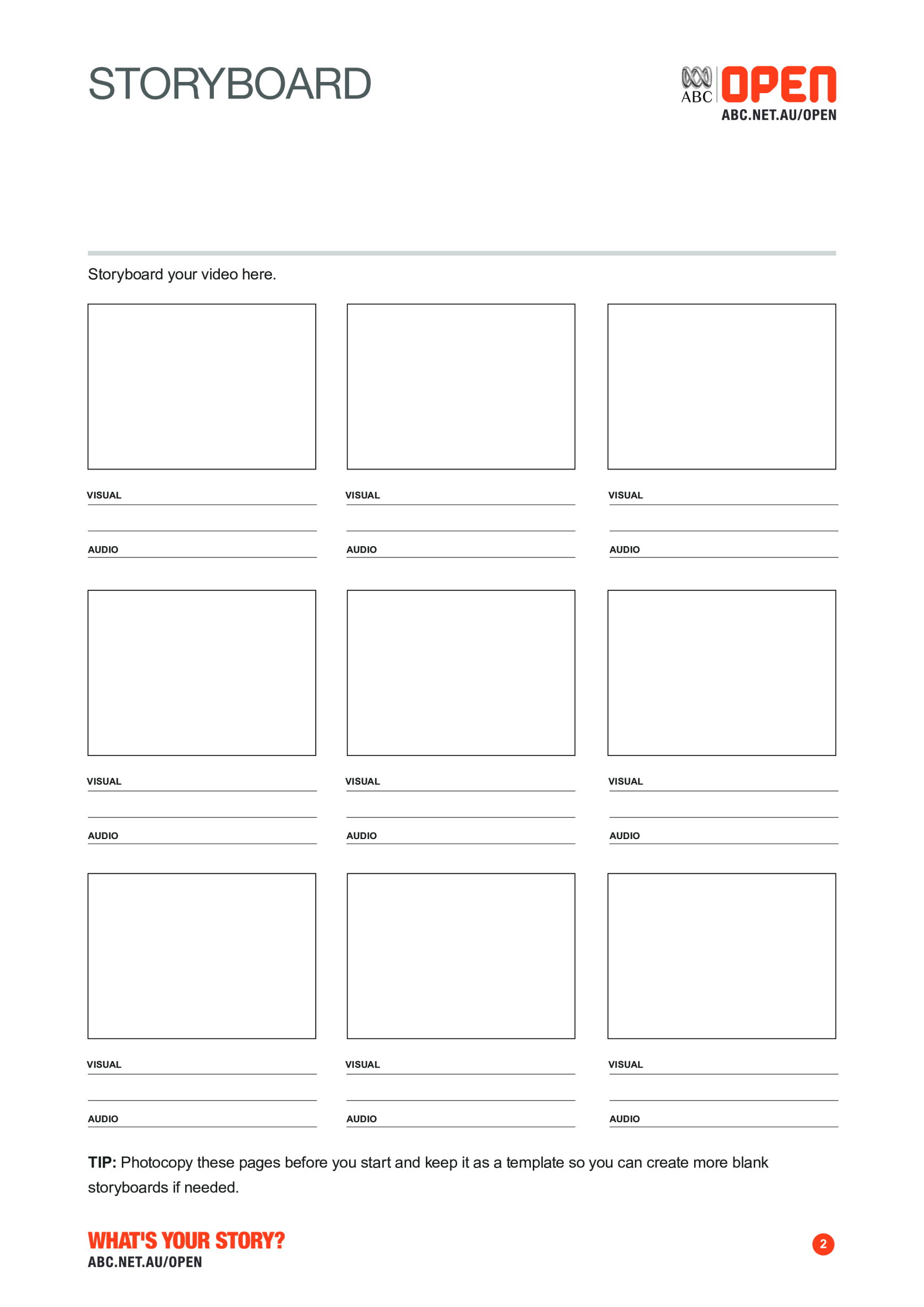 template topic preview image A4 Storyboard for production of Film and Video